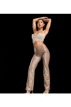 AsYou Cut out PU flare in taupe-Beige