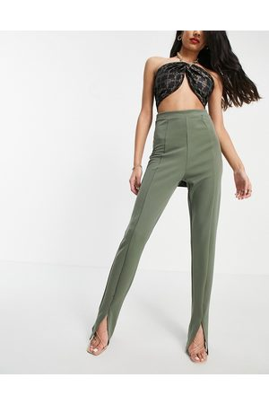 Flounce London High waist tailored stretch trouser with split front in khaki-Green