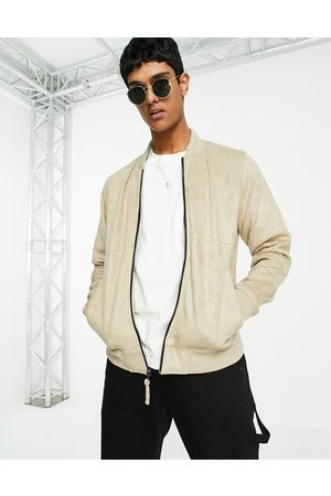 Hollister Lightweight faux suede bomber jacket in tan-Brown