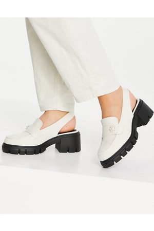 ASOS Shae chunky slingback loafers in off white