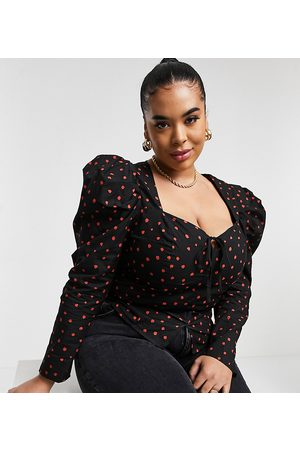 Glamorous Milkmaid blouse in copper spot with puff sleeves-Multi