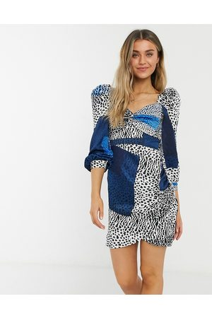 Liquorish Milkmaid mini dress with ruched sleeves in blue square leopard print