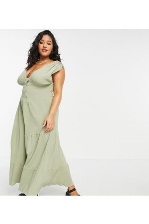 ASOS ASOS DESIGN Curve shirred waist button front tiered midi sundress in crinkle in khaki-Green