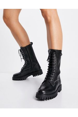ASRA Bennie lace up tall flat boots in black leather