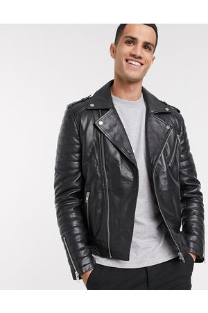 Barneys Originals Full zip leather biker jacket in black