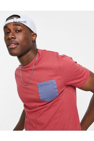 ASOS Organic t-shirt with contrast pocket-Red