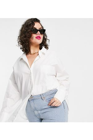ASOS ASOS DESIGN Curve long sleeve boyfriend shirt in white