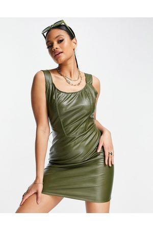 NaaNaa PU bodycon mini dress in khaki-Green