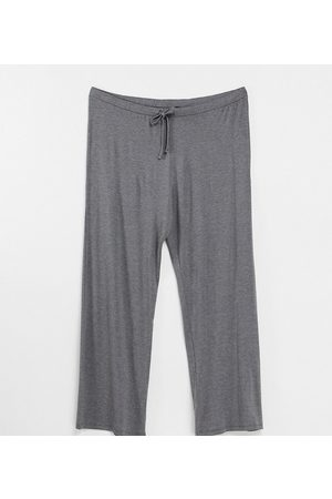 Yours Tie waist wide leg trousers in grey marl