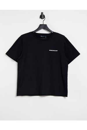 ASOS T-shirt with shoulder pad and nonchalant motif in black