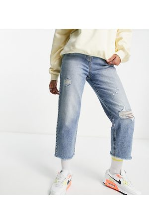 COLLUSION X005 90s cropped straight leg jeans in washed blue