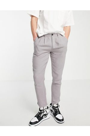 ASOS Cigarette trousers with pleats in grey linen