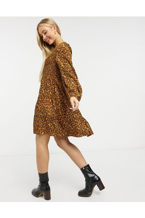 Y.A.S Mini skater dress with v neck in mustard floral-Multi