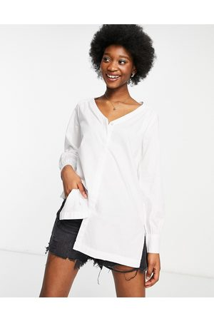 JDY Collarless shirt with shoulder gather in white