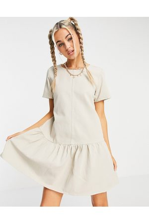 Noisy May Denim smock dress with drop hem in off white