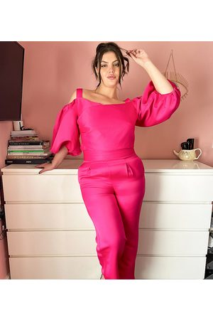 Yaura Plus Kadın Resmi Pantolon - Tailored trouser co-ord in hot pink