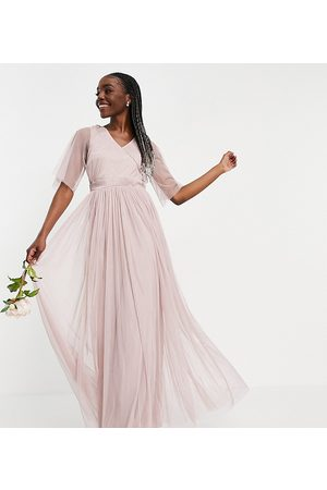 ANAYA Anaya With Love Tall Bridesmaid tulle flutter sleeve maxi dress in pink