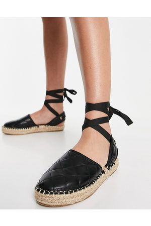 Truffle Collection Tie leg espadrille shoes in black