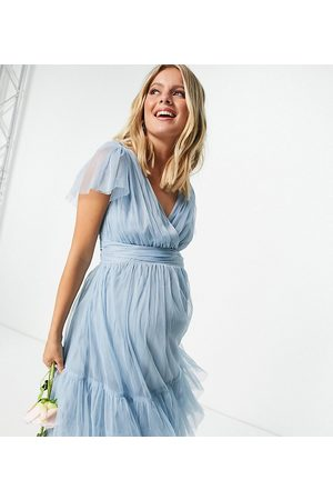 ANAYA Anaya With Love Maternity Bridesmaid tulle flutter sleeve ruffle hem midi dress in soft blue