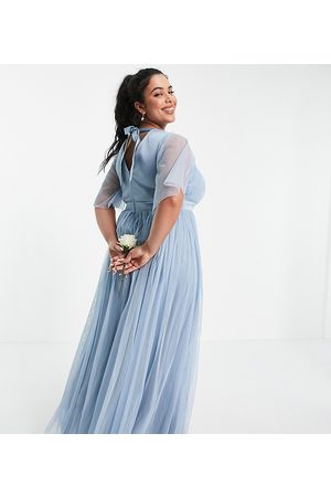 ANAYA Anaya With Love Plus Bridesmaid tulle flutter sleeve maxi dress in soft blue