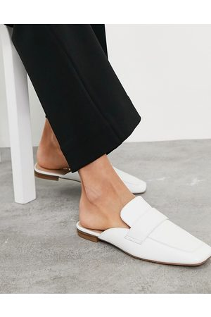 Office Square toe loafer mule in white leather