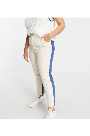 Daisy Street Mom jeans in colour block denim co-ord-White