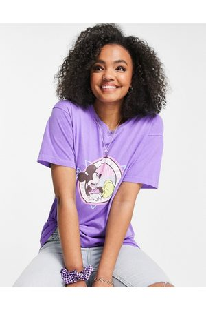 Daisy Street Oversized t-shirt with mickey mouse graphic in vintage wash-Purple