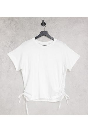 Urban Bliss Plus Ruched side t-shirt in white