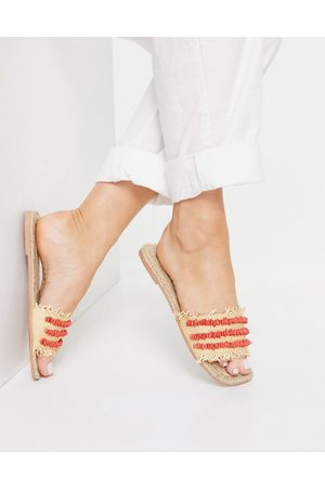 ASOS Jump Start raffia espadrilles mules with red shell detail-Neutral
