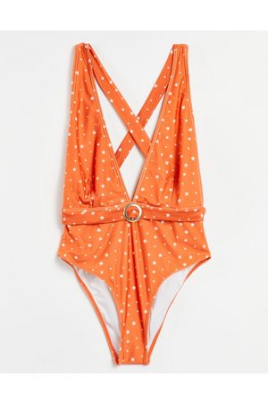 Chelsea Peers Orange spotted swimsuit with criss cross back-Red