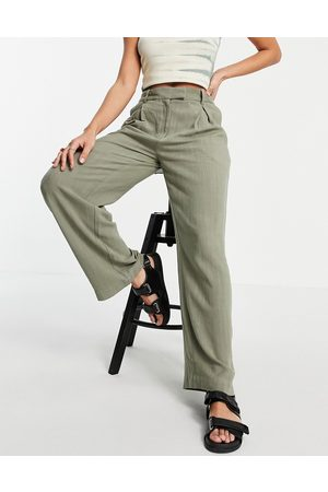 Weekday Lilah tailored trousers in khaki-Green
