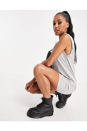 Brave Soul Theo sleeveless t-shirt dress with shoulder pads-Grey