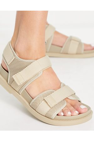 Monki Misha recycled dad sandals in beige-Neutral