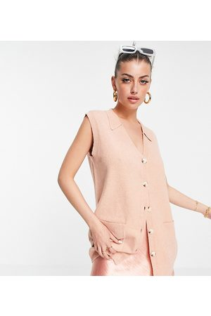 M Lounge Oversized sweater vest with collar-Pink