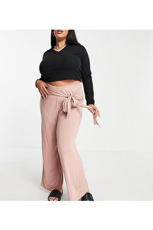 Yours Exclusive tie waist wide leg trousers in dusky pink