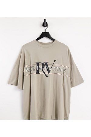 Reclaimed Vintage Inspired organic cotton logo t-shirt in stone-Neutral