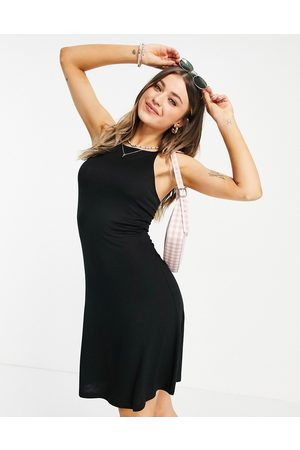 Pieces Marion dropped hem smock midi dress in black