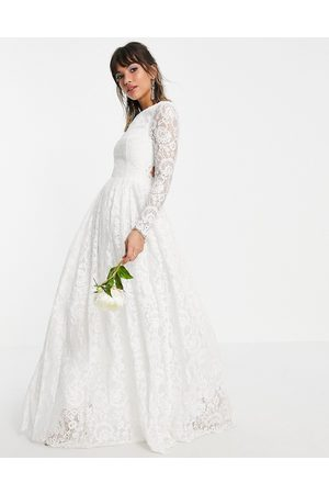 ASOS Odette lace long sleeve wedding dress with open back-White