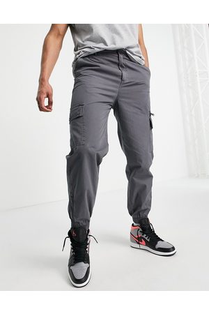 ASOS Tapered washed cargo trousers in dark shadow-Grey