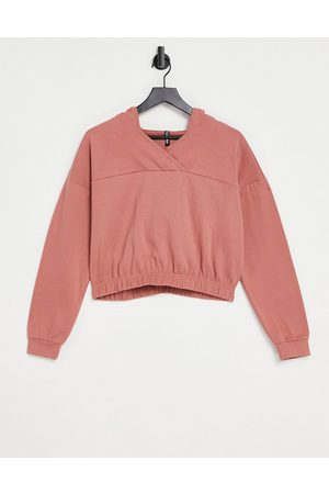 Pieces Lounge crop hoodie co-ord in dusty pink
