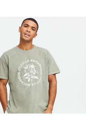 New Look Oversized printed t-shirt in washed khaki-Green