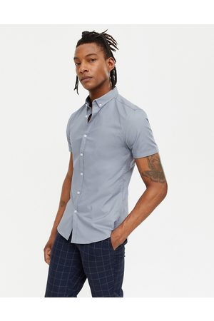 New Look Short sleeve muscle fit oxford in grey