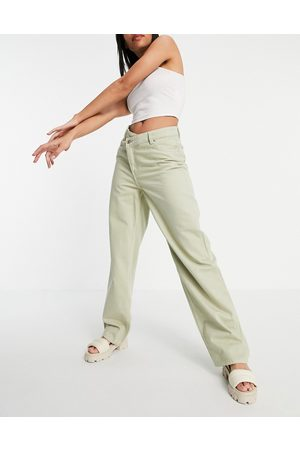 Weekday Allanit organic cotton wide leg trousers with asymmetric fastening in mole-Neutral