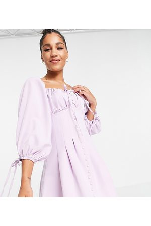 Missguided Skater dress with balloon sleeve in lilac-Purple