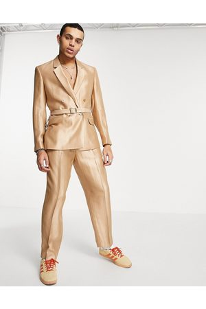ASOS Oversized tapered suit trousers in gold metallic
