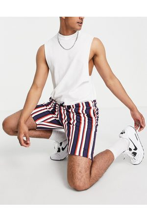 Threadbare Co-ord stripe shorts in red navy and white-Multi
