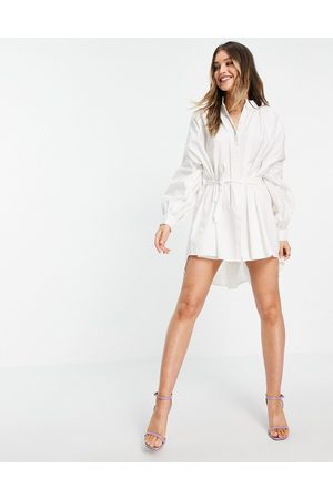 In The Style X Lorna Luxe exaggerated cape sleeve shirt dress in white