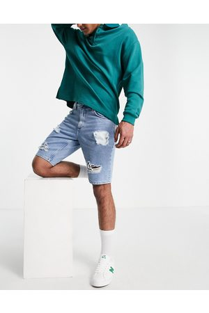 ASOS Slim denim shorts in vintage mid wash with heavy rips-Blue