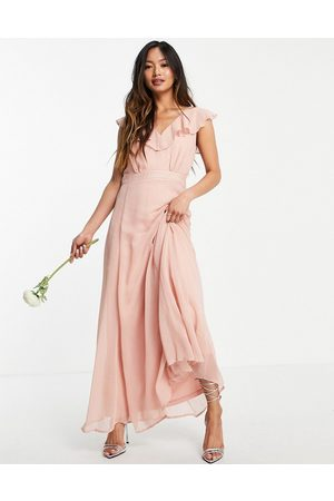 VILA Bridesmaid maxi dress with frill detail in pink