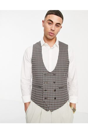 ASOS Wedding skinny suit waistcoat with puppytooth in camel-Neutral